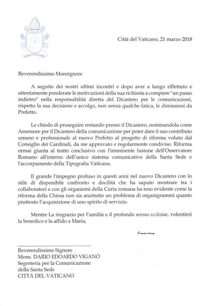 Foto: lettera risposta di Papa Francesco alle dimissioni di mons. Viganò