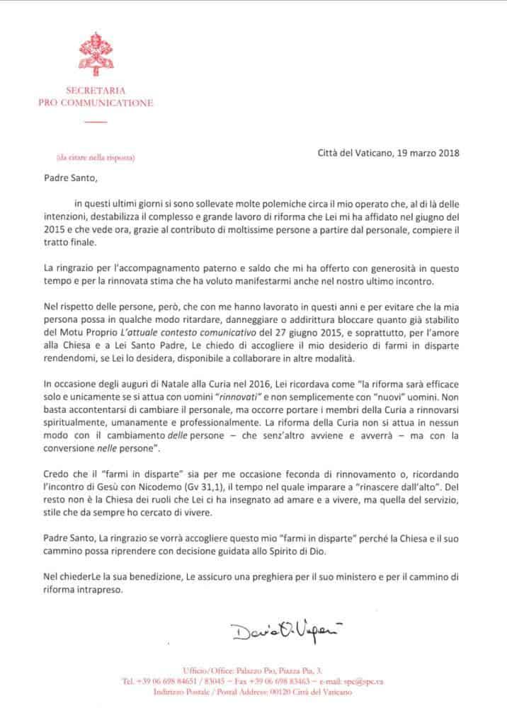 Foto: lettera dimissioni di mons. Dario Viganò
