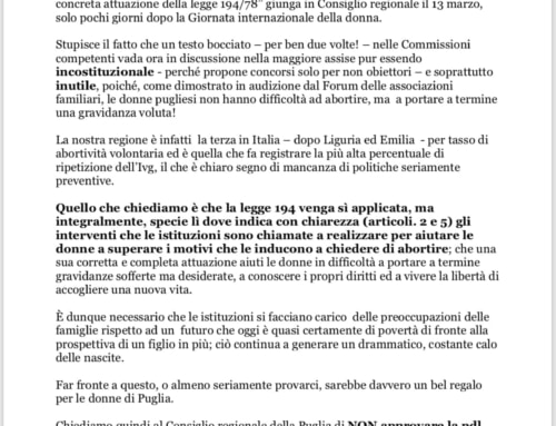 CARO EMILIANO, IN PUGLIA NON È DIFFICILE ABORTIRE, MA PORTARE A TERMINE LA GRAVIDANZA!