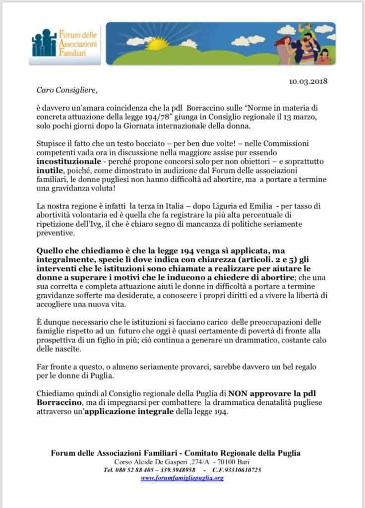 Foto volantino invito a consiglieri regionali della Puglia di non votare la proposta BORRACCINO.