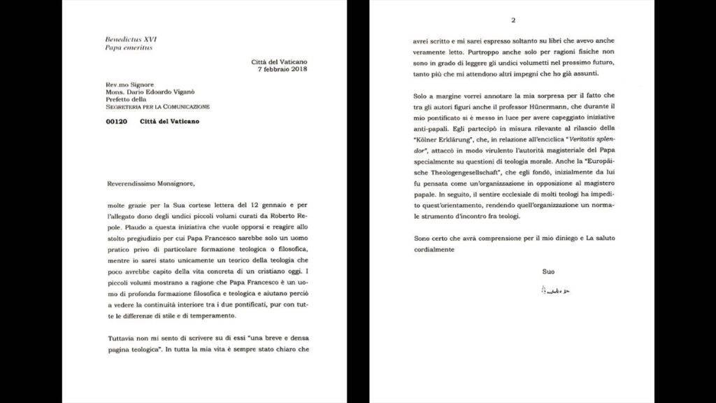 foto: lettera riservata di BENEDETTO XVI a Viganò