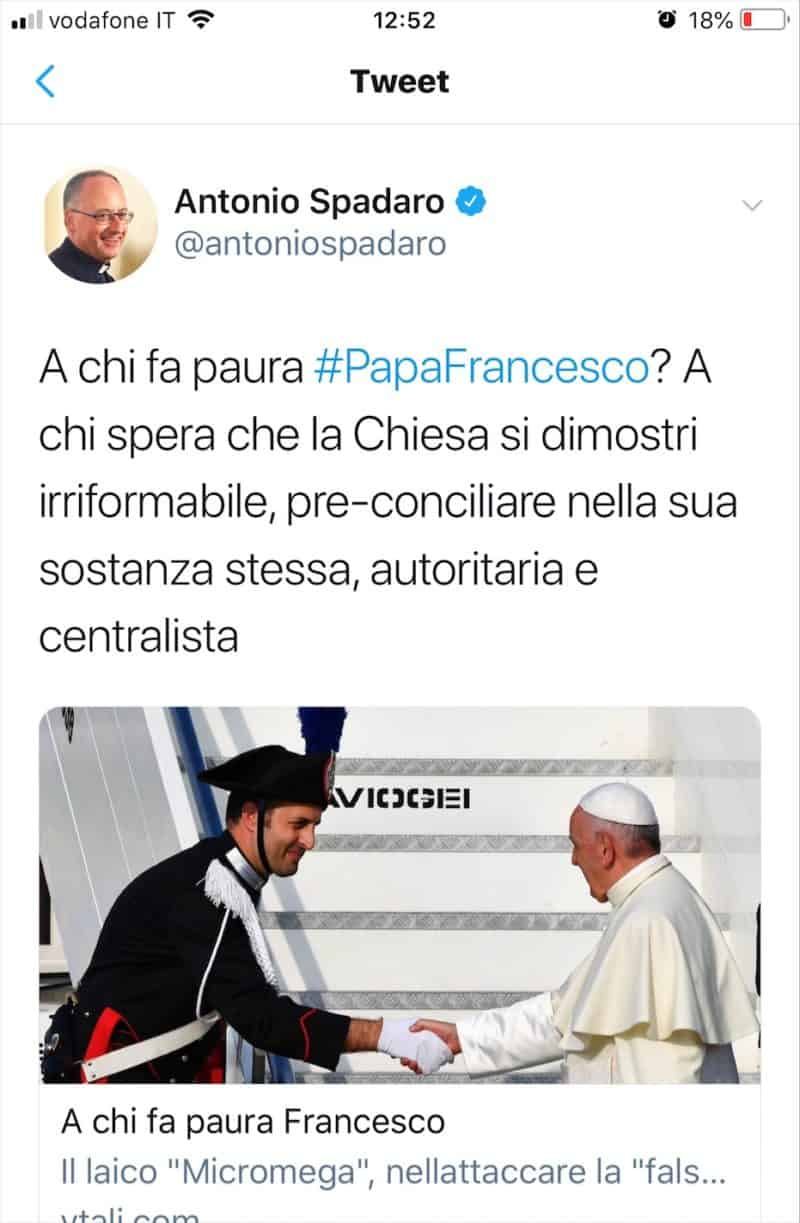Foto: tweet di padre Antonio Spadaro