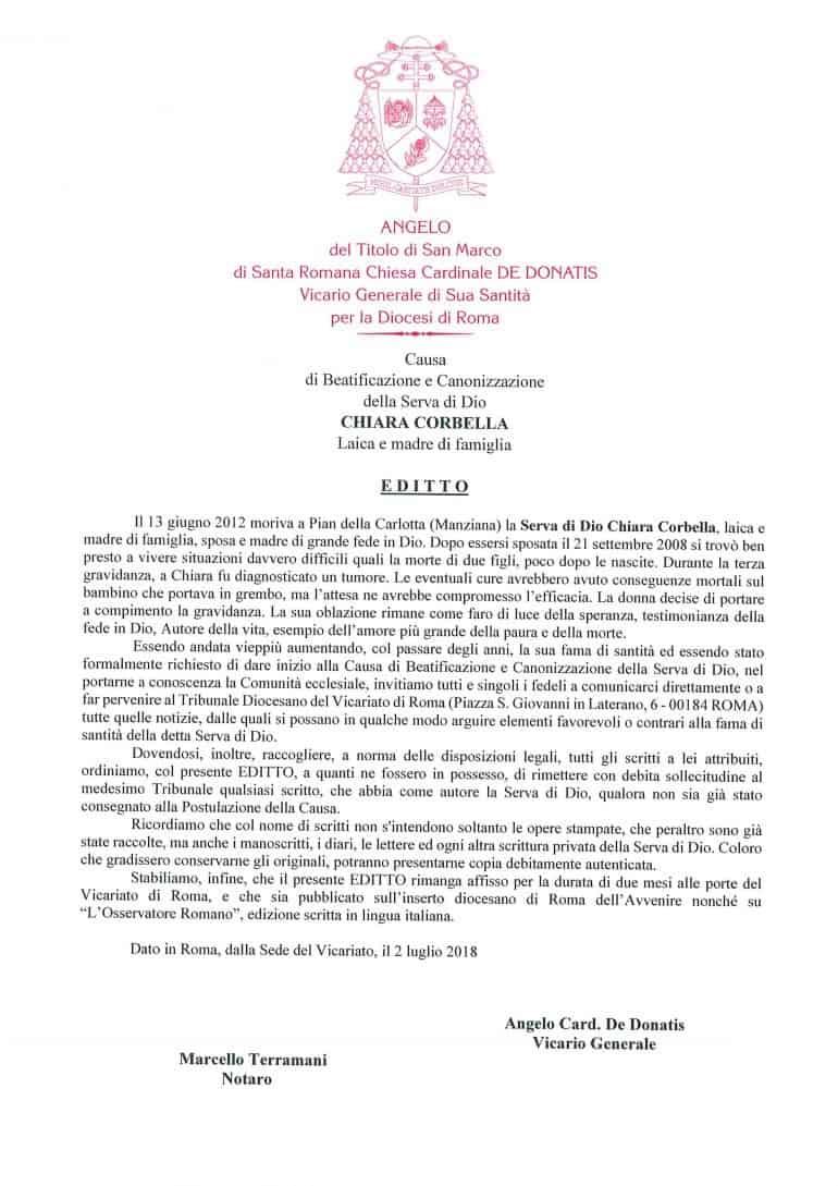 Editto per la causa di beatificazione della Serva di Dio Chiara Corbella