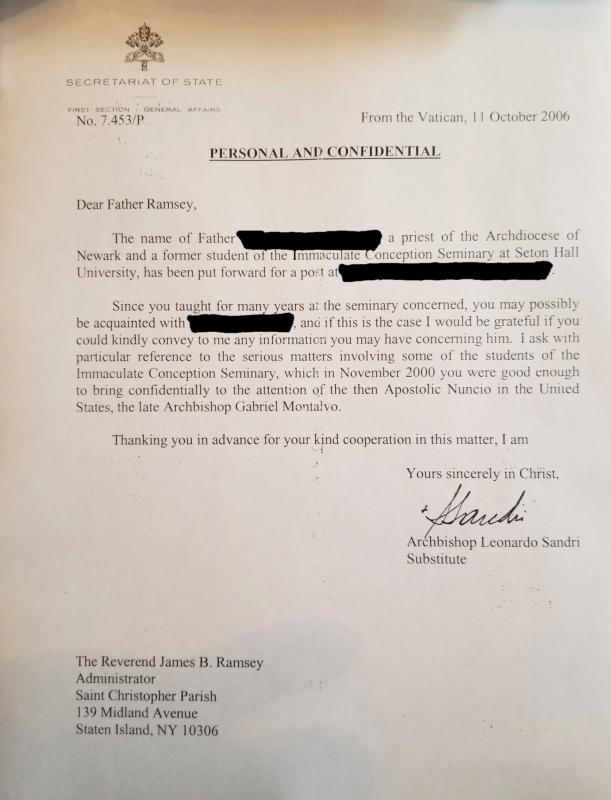 Lettera del 11 10 2006 dell'Arciv Leonardo Sandri, allora sostituto della Segreteria di Stato vaticana, a padre Bonifacio Ramsey
