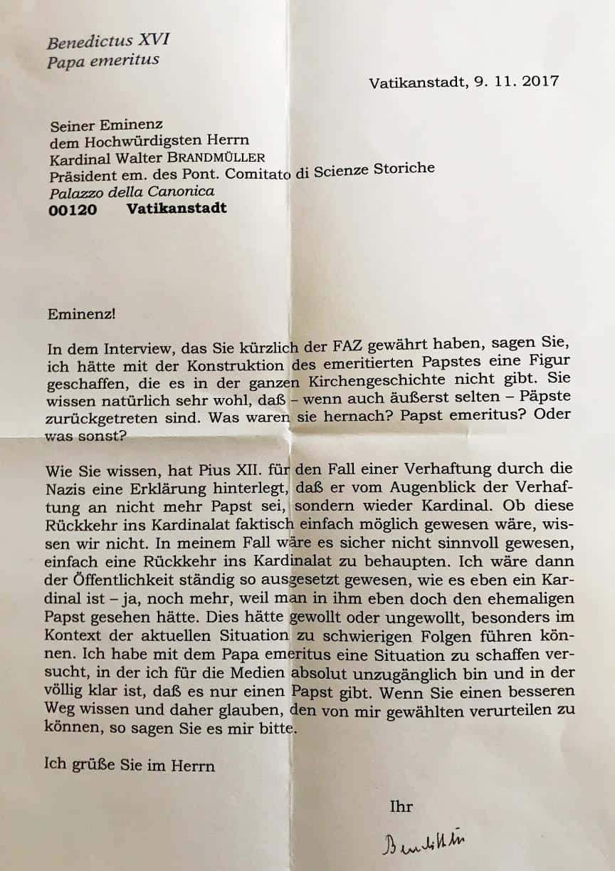 Foto: lettera privata del Papa Emerito Benedetto XVI al Card. Walter Brandmüller