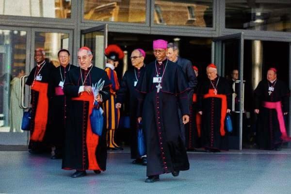 I Vescovi escono dall'aula sinodale della Città del Vaticano durante il Sinodo dei Vescovi del 2018. (foto: Daniel Ibanez/CNA)
