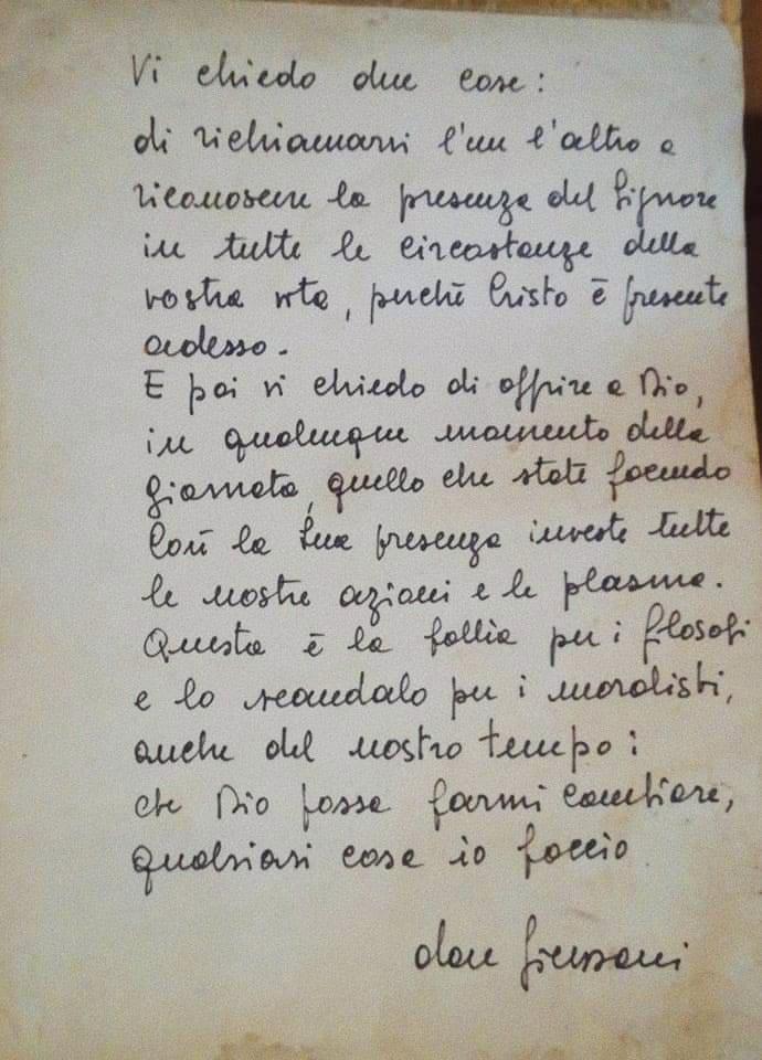 foto: lettera di don Luigi Giussani