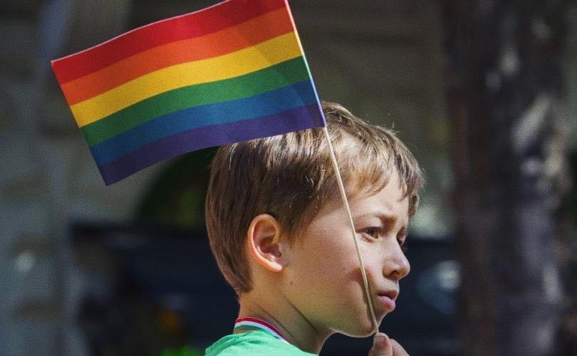 Foto: bimbo con bandiera LGBT (foto Shutterstock via LifeSiteNews)