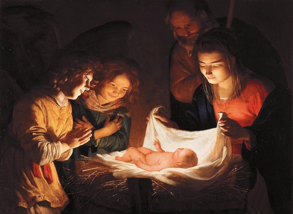 Gerrit van Honthorst - (Gherardo delle Notti) (Utrecht 1592 - 1656), Adorazione del Bambino, 1619-1620. Olio su tela. Firenze, Galleria degli Uffizi