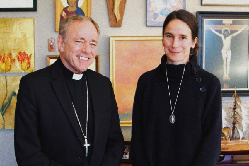 Pro-life activist Mary Wagner with Vancouver Archbishop J. Michael Miller. Photo by Agnieszka Ruck
