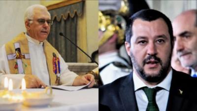 Don Paolo Farinella (sinistra) e Matteo Salvini (destra)