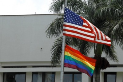 Bandiera LGBT e Bandiera USA