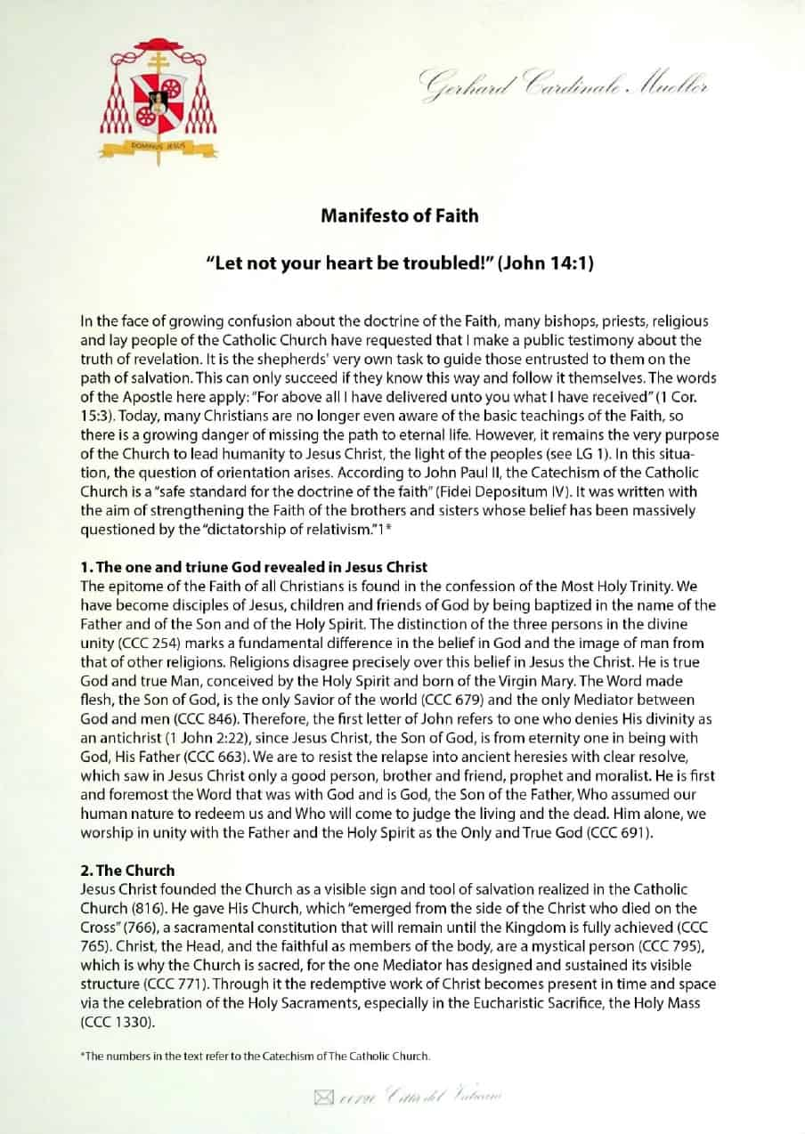 Manifesto sulla fede del cardinale Gerhard Müller (foglio n.1)