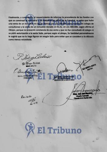 Documento su caso mons. Gustavo Zanchetta