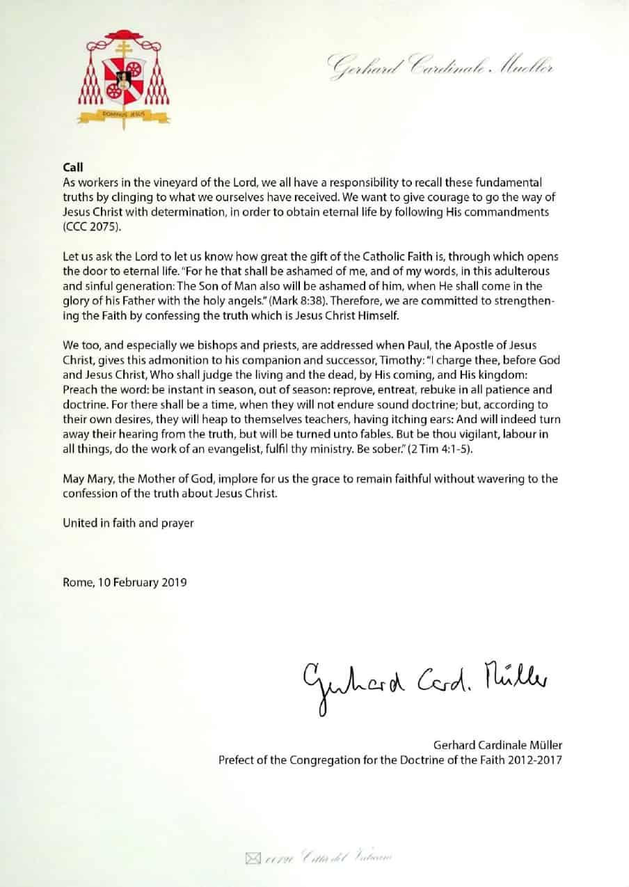 Manifesto sulla fede del cardinale Gerhard Müller (foglio n.4)