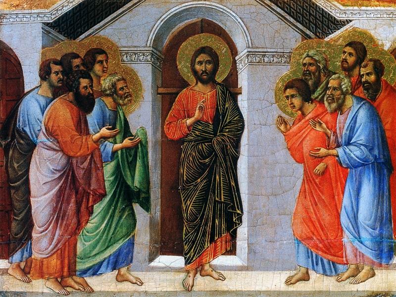 Apparizione a porte chiuse di Gesù Cristo agli apostoli – Duccio di Buoninsegna (Maestà del Duomo di Siena)