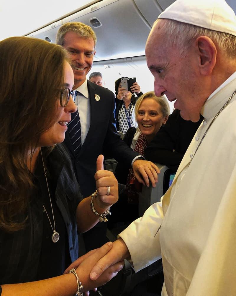 La giornalista Ines San Martin con Papa Francesco