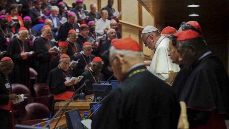 Il Papa con i vescovi nell'Aula del Sinodo (Vatican Media)