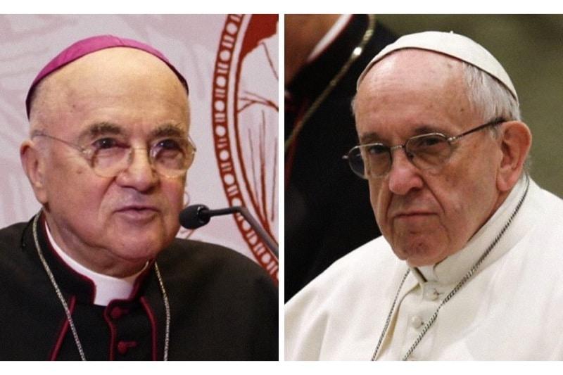 Papa Francesco e l'arciv. Carlo Maria Viganó