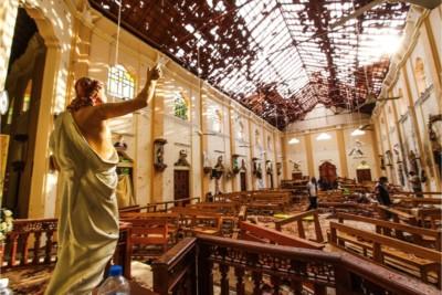 Chiesa di San Sebastiano dopo gli attentati terroristici, Negombo, Sri Lanka, 21 aprile 2019