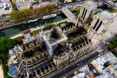 Notre Dame vista dall'alto dopo l'incendio