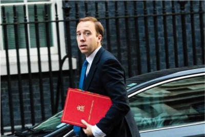 Il ministro della sanità britannico Matthew Hancock. Immagine via Shutterstock