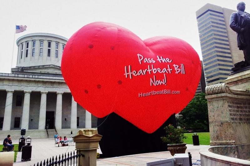 "Mandatory Credit: Photo by Ann Sanner/AP/REX/Shutterstock (5946096a) Outside the statehouse in Columbus, Ohio, shows a large balloon in support of the Heartbeat Bill. An Ohio bill that would have imposed the most stringent restriction on abortions in the nation met its end Tuesday. Senators don't plan to vote on the so-called ""heartbeat bill"" before the end of the legislative session next month, Republican Senate President Tom Niehaus said, citing concerns the resulting law might have been found to be unconstitutional Ohio Abortions First Heartbeat, Columbus, USA"