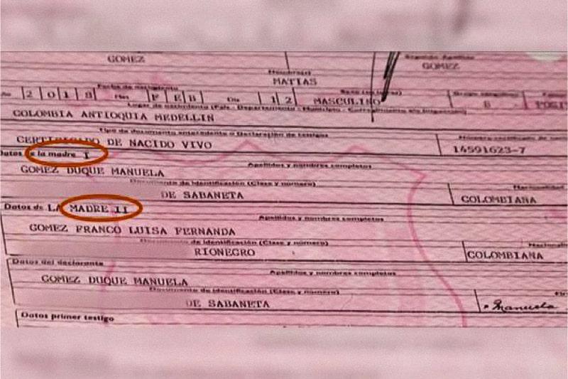 """il Certificato di battesimo di Matias che mostra le lesbiche come """"Madre I"""" e """"Madre II"""", cerchiate in rosso."""
