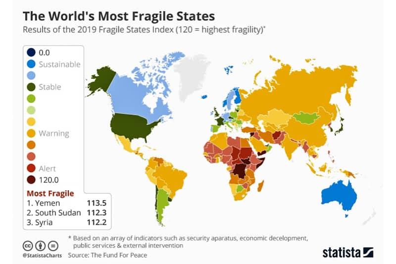 Cartina degli Stati più forti e fragili al mondo