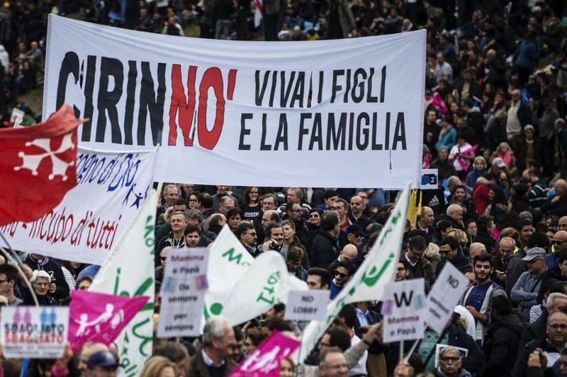 Manifestanti al Circo Massimo in occasione del Family Day, Roma, 30 gennaio 2016. ANSA/ANGELO CARCONI