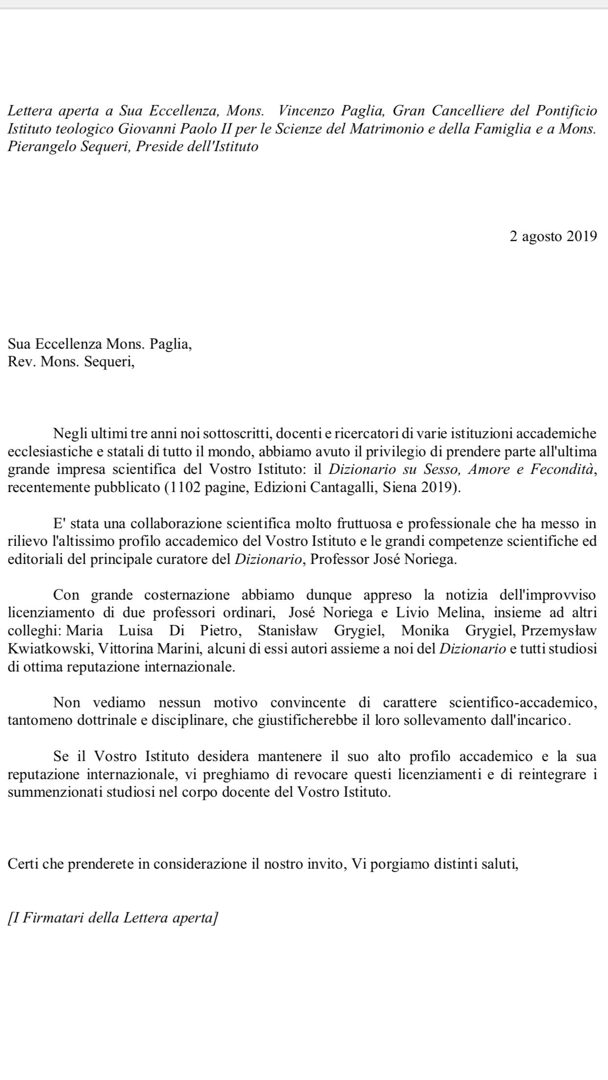 Lettera aperta di 49 studiosi al Pontificio Istituto Giovanni Paolo II