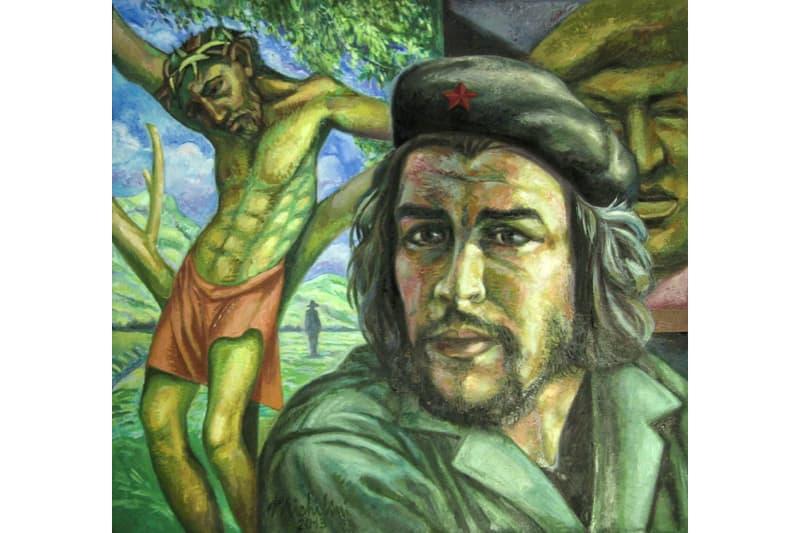 Sergio Michilini,CHE GUEVARA-CRISTO CROCIFISSO-CHAVEZ E SANDINO, 2013, olio su tela, cm.74×80