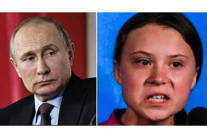 Il presidente Vladimir Putin e Greta Thumberg