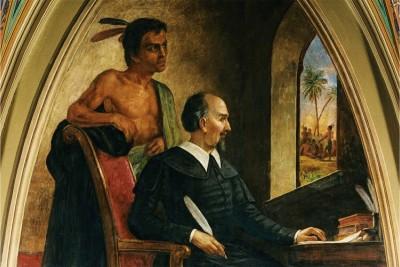 Bartolomeo de Las Casas ritratto da Constantino Brumidi in un dipinto ad olio del 1876