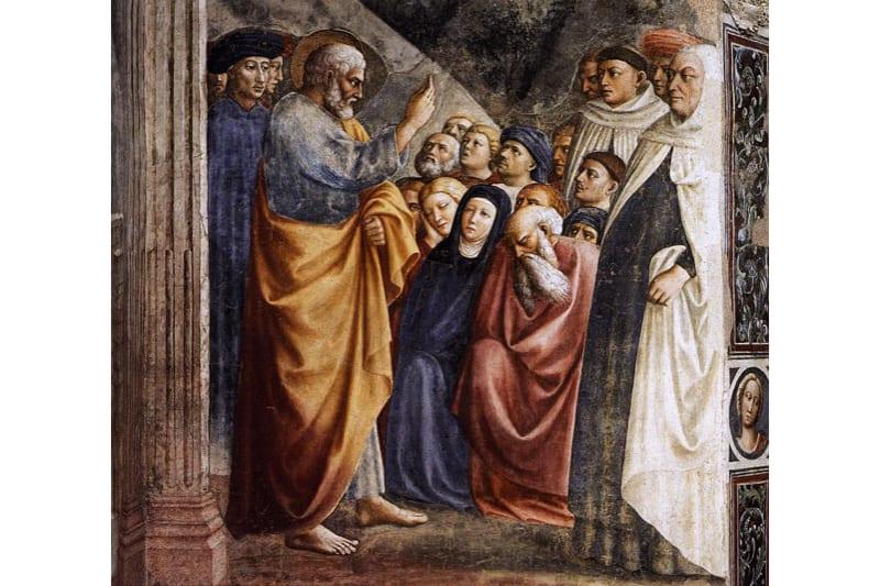 San Pietro insegna, particolare di Masolino da Panicale cappella Brancacci