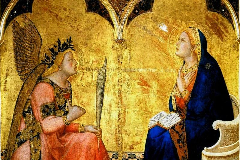 Ambrogio Lorenzetti, Annunciazione (1344), Pinacoteca Nazionale di Siena, tempera e oro su tavola.