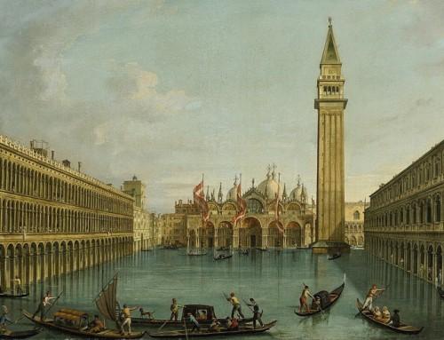 CAMBIAMENTI CLIMATICI: anno 1825, acqua alta a Venezia, giro in gondola a piazza San Marco