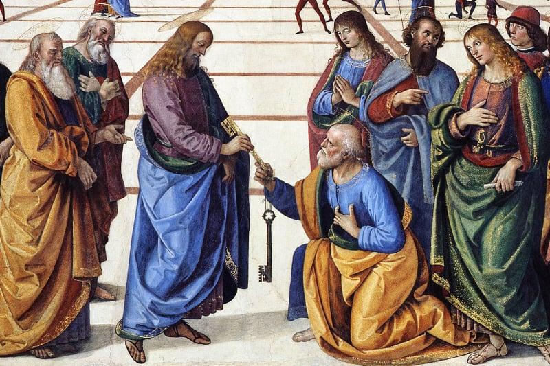 """Pietro Perugino (1450-1523), particolare de """"Consegna delle Chiavi"""" (1481-82) nella Cappella Sistina, a Roma."""