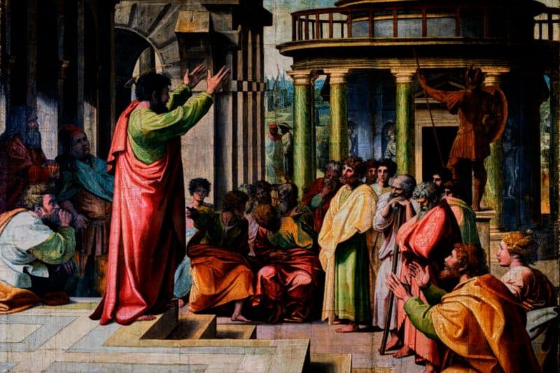 San Paolo parla all'aeropago ( dipinto di Raffaello e aiuti, 1515-1516)