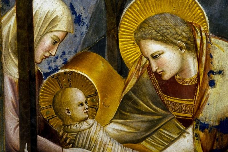 Giotto, Natività, dalle Storie di Cristo, 1303-5. Affresco, 2 x 1,85 m. Padova, Cappella degli Scrovegni.