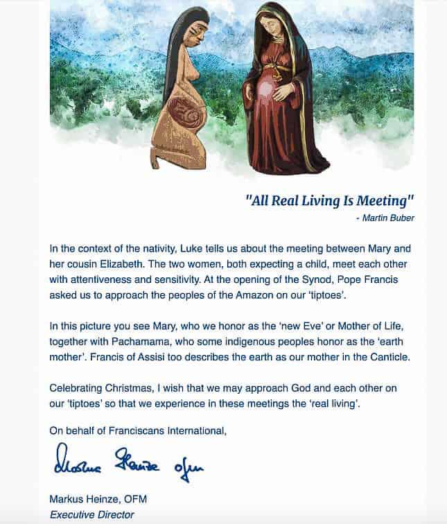 Biglietto di auguri natalizi dei Franciscans International
