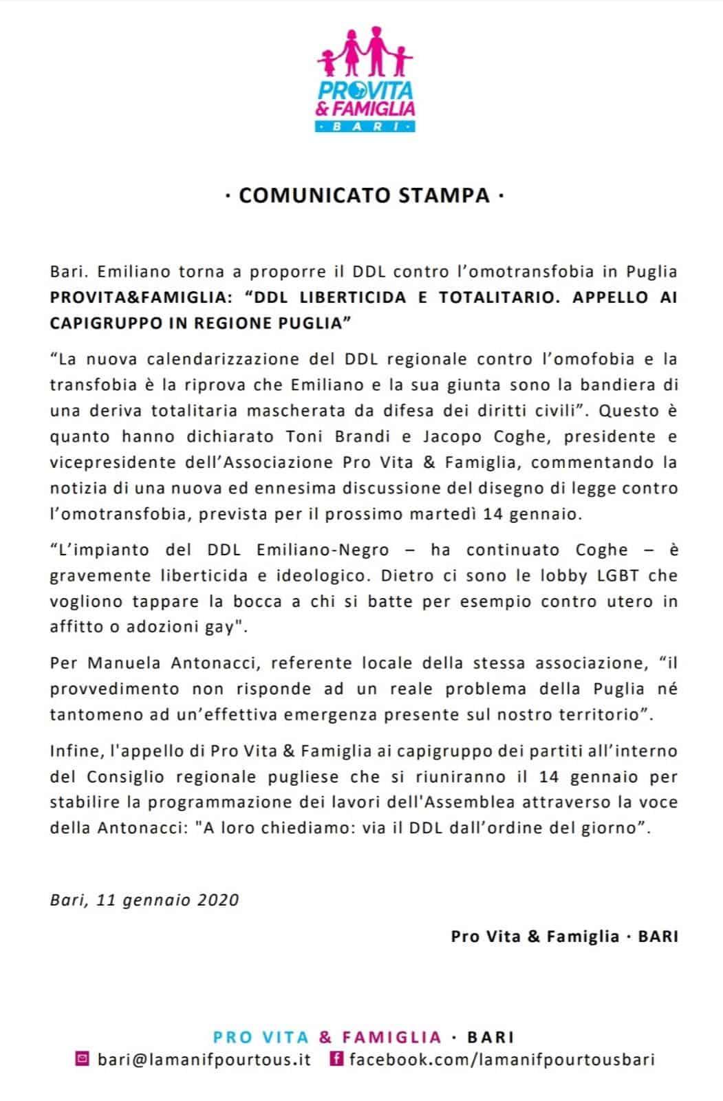 ProVita e famiglia omotransfobia Puglia