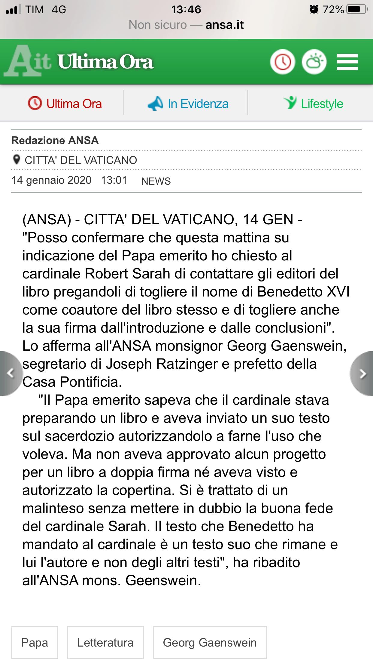 ANSA Libro Benedetto XVI - Sarah