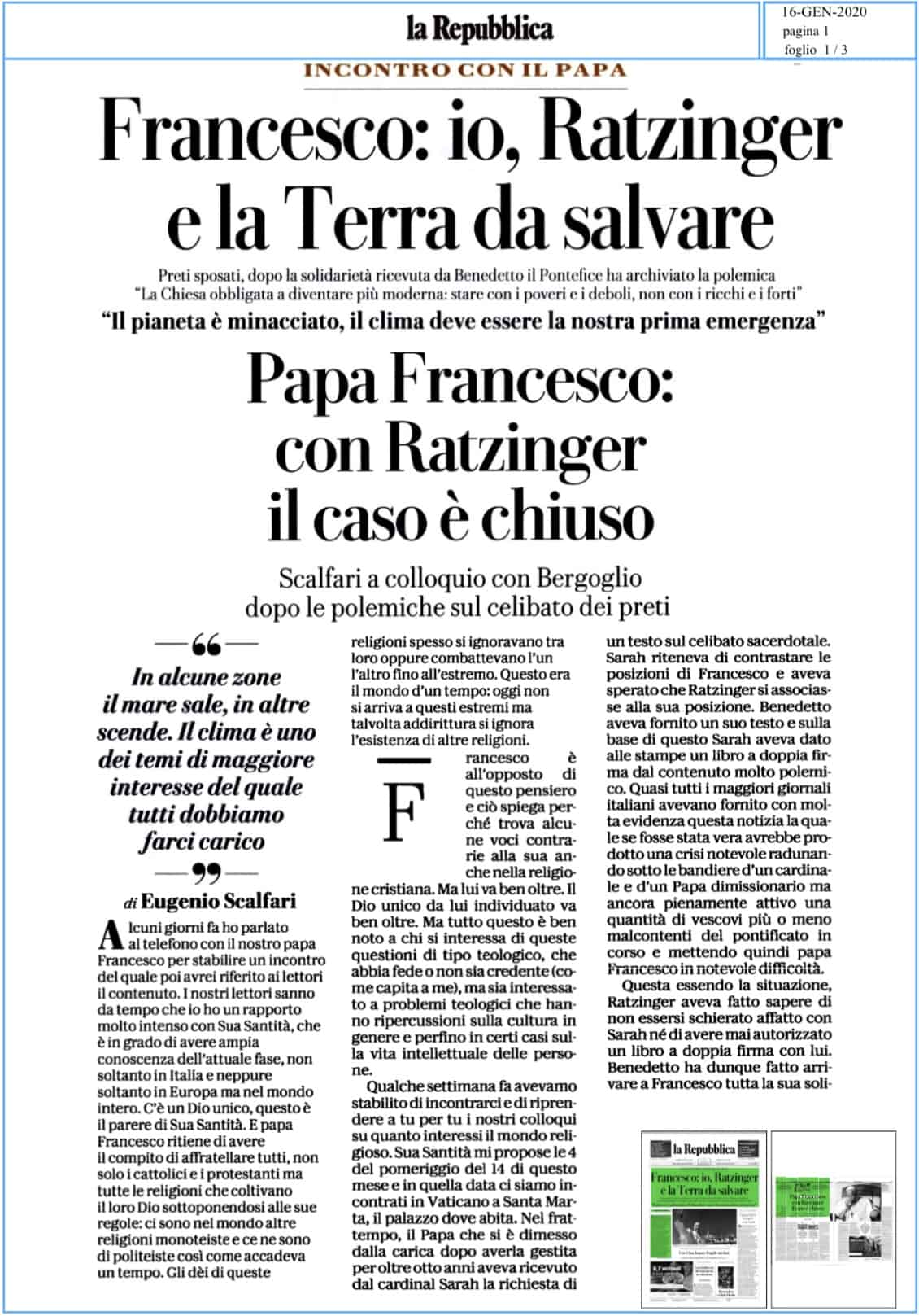 Intervista di Scalfari a Papa Francesco il 16.01.2020
