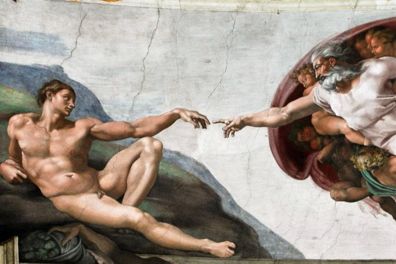 Michelangelo - Giudizio universale - Creazione di Adamo (particolare)