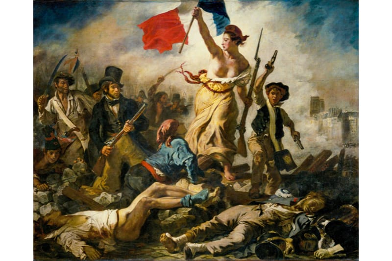 """Eugene Delacroix: """"la libertà che guida il popolo"""", 1830, olio su tela, Museo del Louvre, Parigi"""