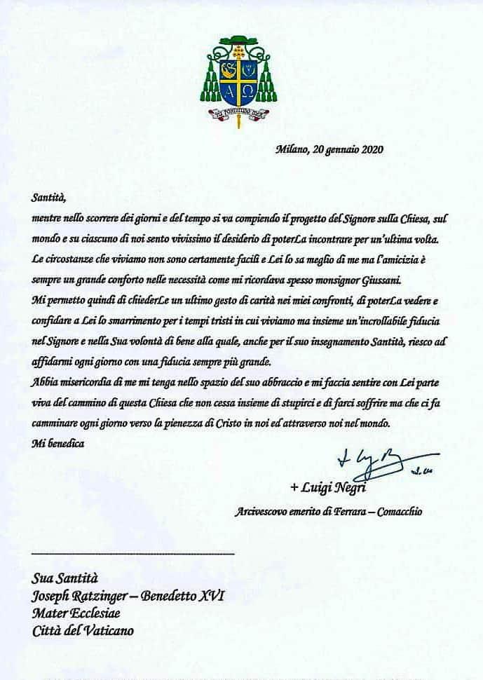 Mons. Negri lettera a Papa emerito Benedetto XVI
