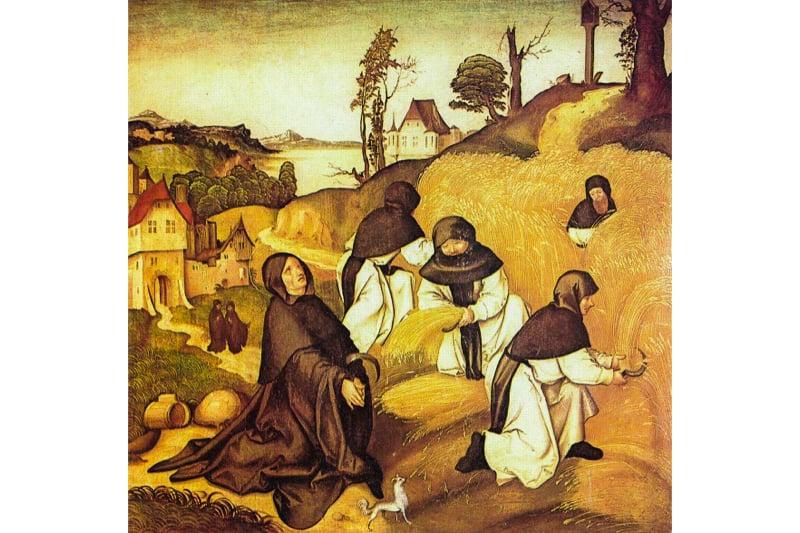 Monaci che lavorano nei campi