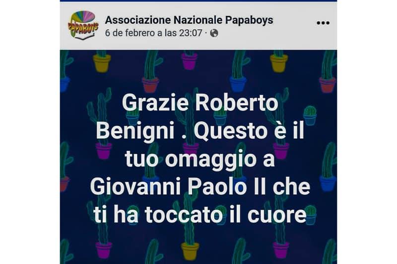 Papaboys omaggiano Benigni a Sanremo 2020