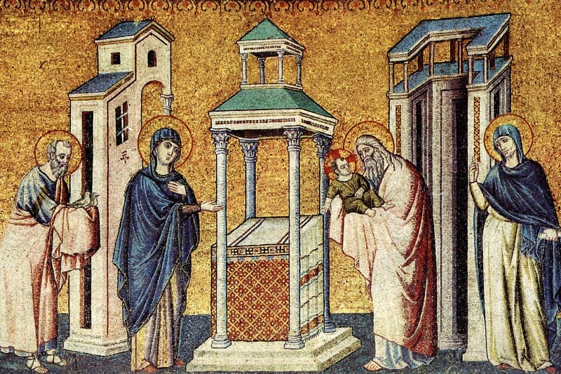 Presentazione di Gesù al tempio, Pietro Cavallini, Chiesa Santa Maria in Trastevere, Roma